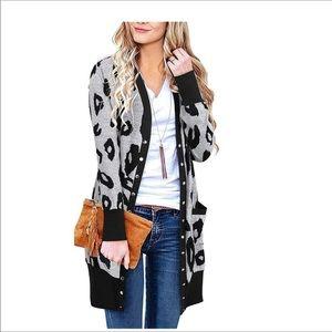 Women Long Sleeve Leopard Print Cardigan leopard